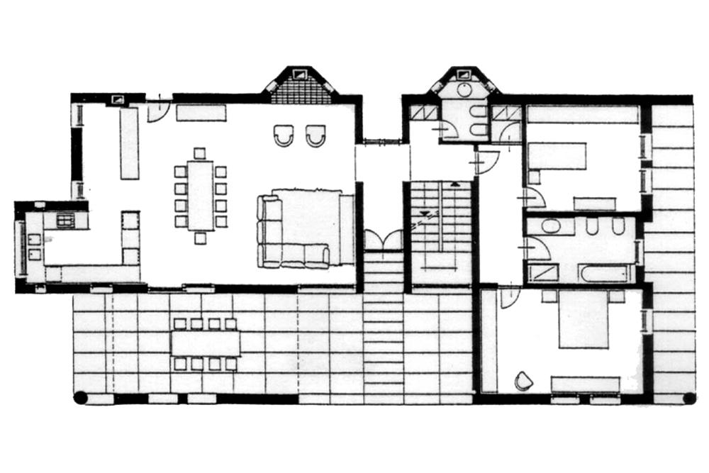 Casa rurale a portico residenziale progetti herv for Progetto casa rettangolare
